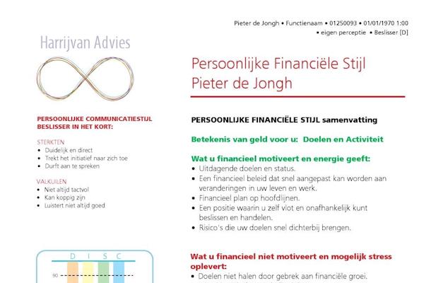 Voorbeeld Persoonlijke financiële stijlen - Harrijvan Bedrijfsadvies